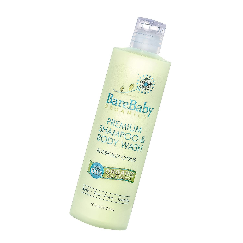 Organic Baby Shampoo & Body Wash with Aloe, Cucumber, Citrus Essential Oils – Safe, Gentle, Tear Free – Eczema Friendly – Paraben, Dye, Gluten, and Sulfate Free – 16 oz BareBaby Organics