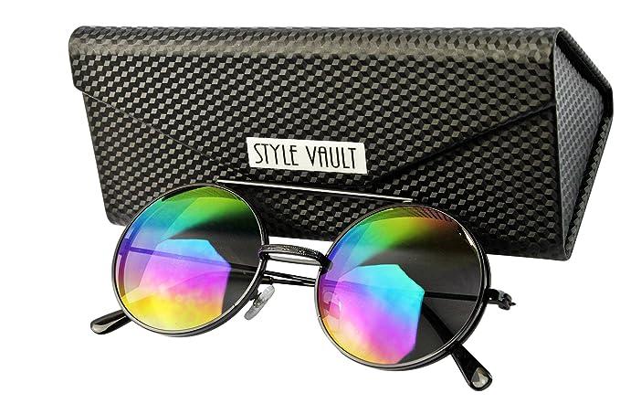 3838d94f55 V3051-FC Style Vault Flip up Django metal round Sunglasses (B3389F  Black-rainbow