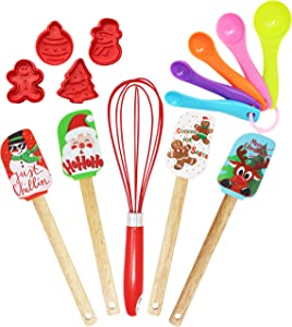 14 Packs Christmas Kitchenware Set, Spatula, Cookie Cutter, Egg Beater, Tea Spoons Set for Christmas Party and Baking Gift