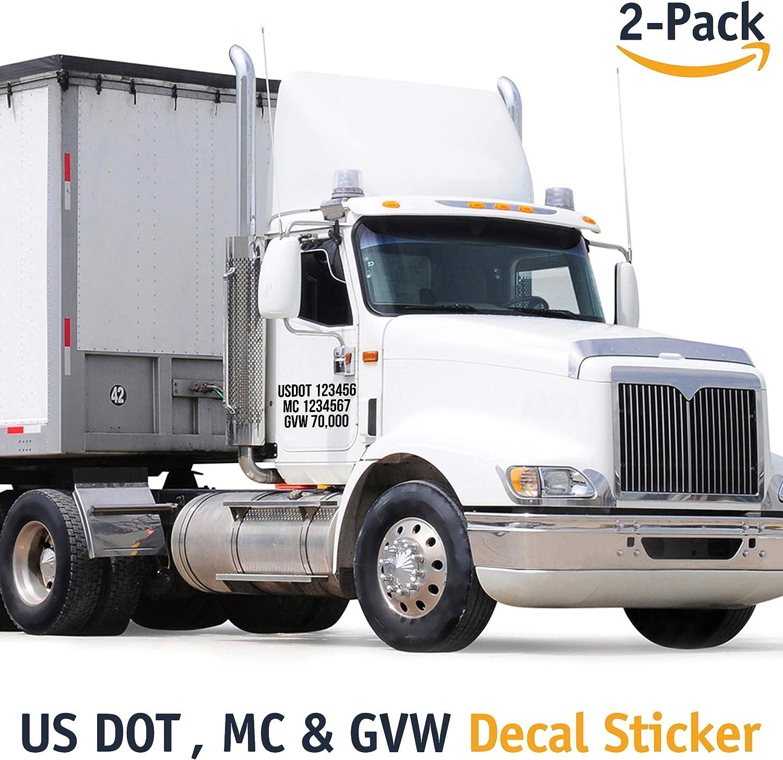 MC /& GVW Decal Sticker 2-Pack USDOT