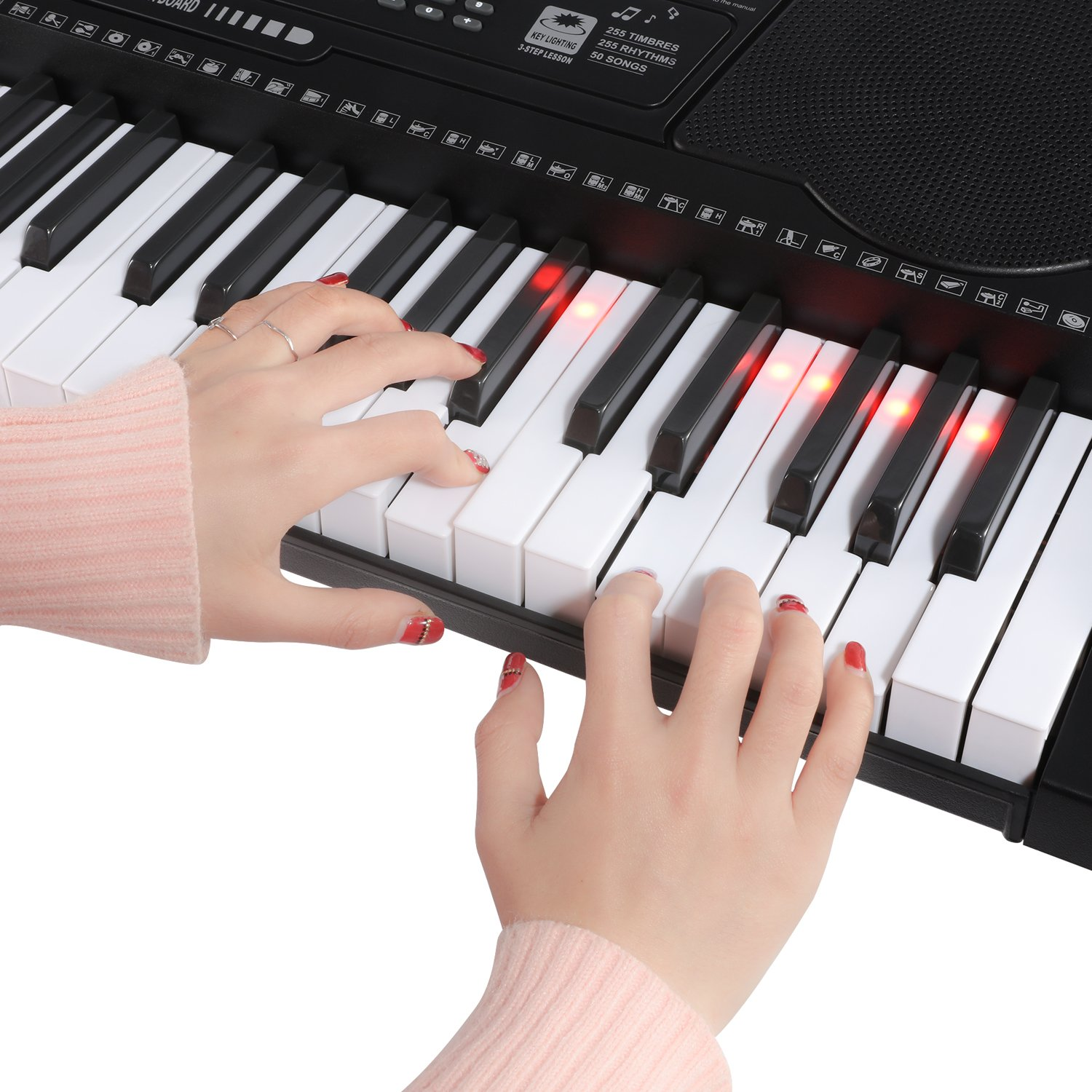 Joy 61-Key Lighting Keyboard with USB Music Player Function, Including Headphone, Stand & Stool (Kl-91MKit) by Joy (Image #3)
