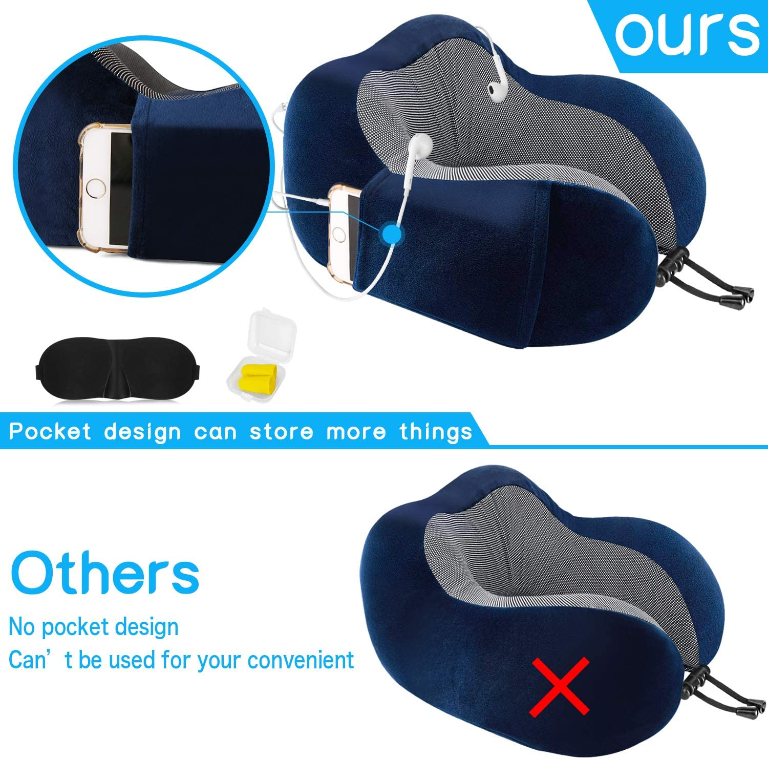 Travel Pillow Memory Foam Neck Pillow for travelling Blue Earplugs Neck support Pillow Travel Kit Compact and Breathable for Sleeping Airplane Car Office with 3D Contoured Eye Masks Storage Pouch