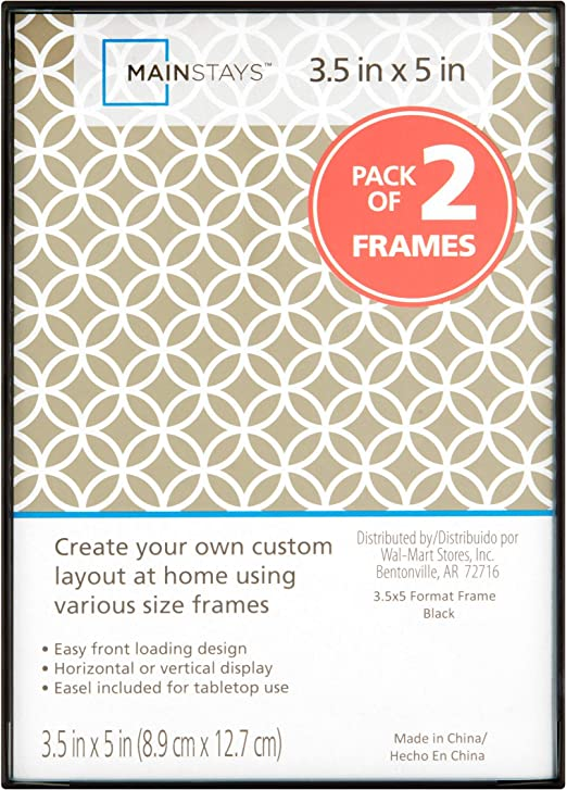 Mainstays 3.5X5 inch Format Picture Frame Photo Artwork Wall Home Decor Set Of 2