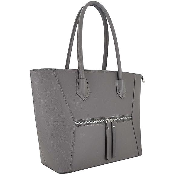 Vanessa & Melissa Damen Schultertasche, Handtasche mit praktischer Aufteilung und vielen Fächern, Schwarz