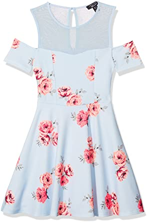New Look 915 Girls 5409627 Dress, (Blue Pattern), 9 Years (Size