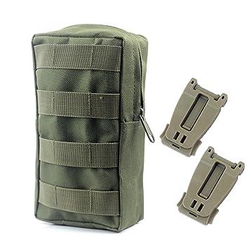 Tactical Molle utilidad abierto parte superior con cremallera para mochila Bolsa de organizar Racksacks con + 2pc táctico correa MOLLE bolsa hebilla ...