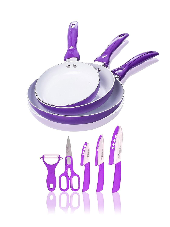 Compra Quttin Set 3 Sartenes Cerámicas Lila + Quttin Set 5 Cuchillos ...