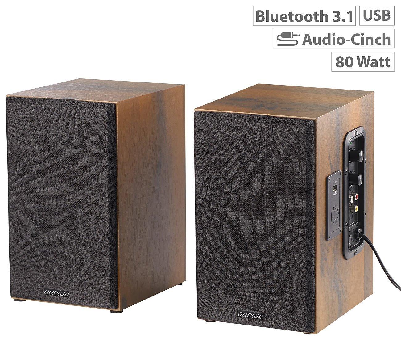 auvisio Aktivboxen: Aktives Stereo-Regallautsprecher-Set im Holz ...