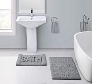 VCNY Home Harmony Collection Bath Mat Set - Soft Supportive Rug with Nonskid Back - Designed for Bathroom, Hallway, or Kitchen Use, 17x24, Grey