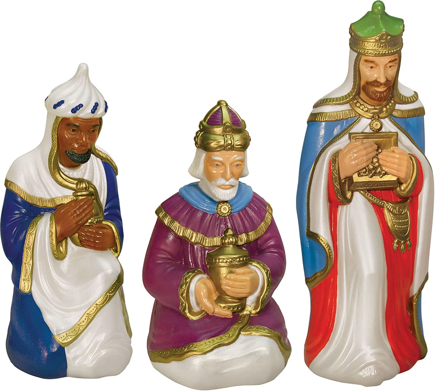 nativity scene holy family with lights outdoor