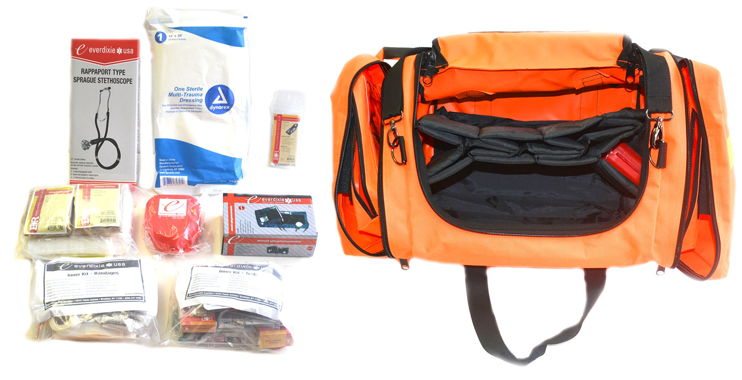 First Aid Kit Emergency Response EMT Bag Complete - Ideal for Camping, Firefighters, EMT, First Responders, Police and Military