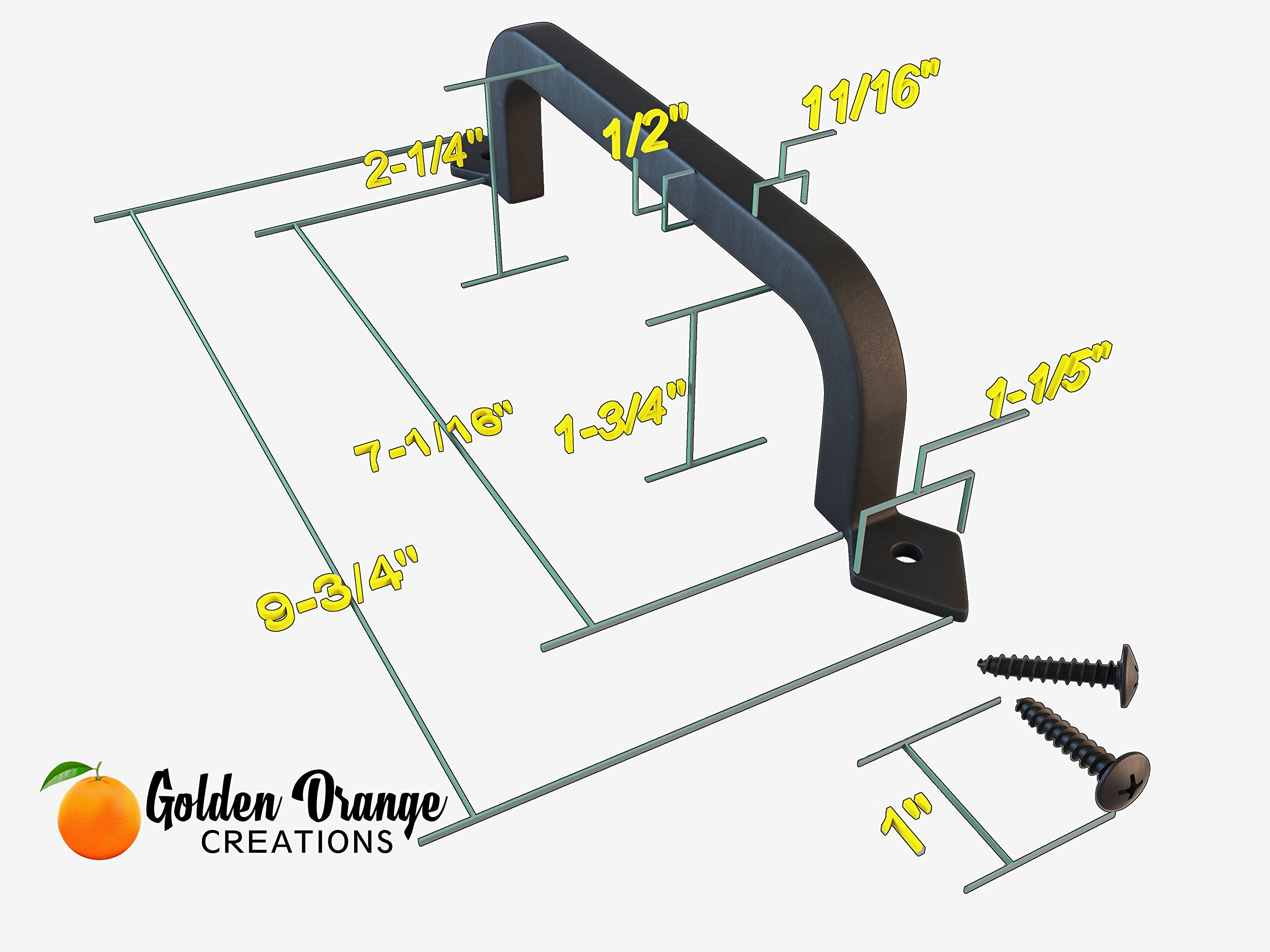 9-3/4'' Antique Barn Door Pull Handle with 2 Matching Black Screws - for Custom and Luxury Sliding Barn Doors, Pantry, Closet, Furniture, Garage, Gate, Shed - Solid Cast Iron Hardware Handle by Golden Orange Creations (Image #6)
