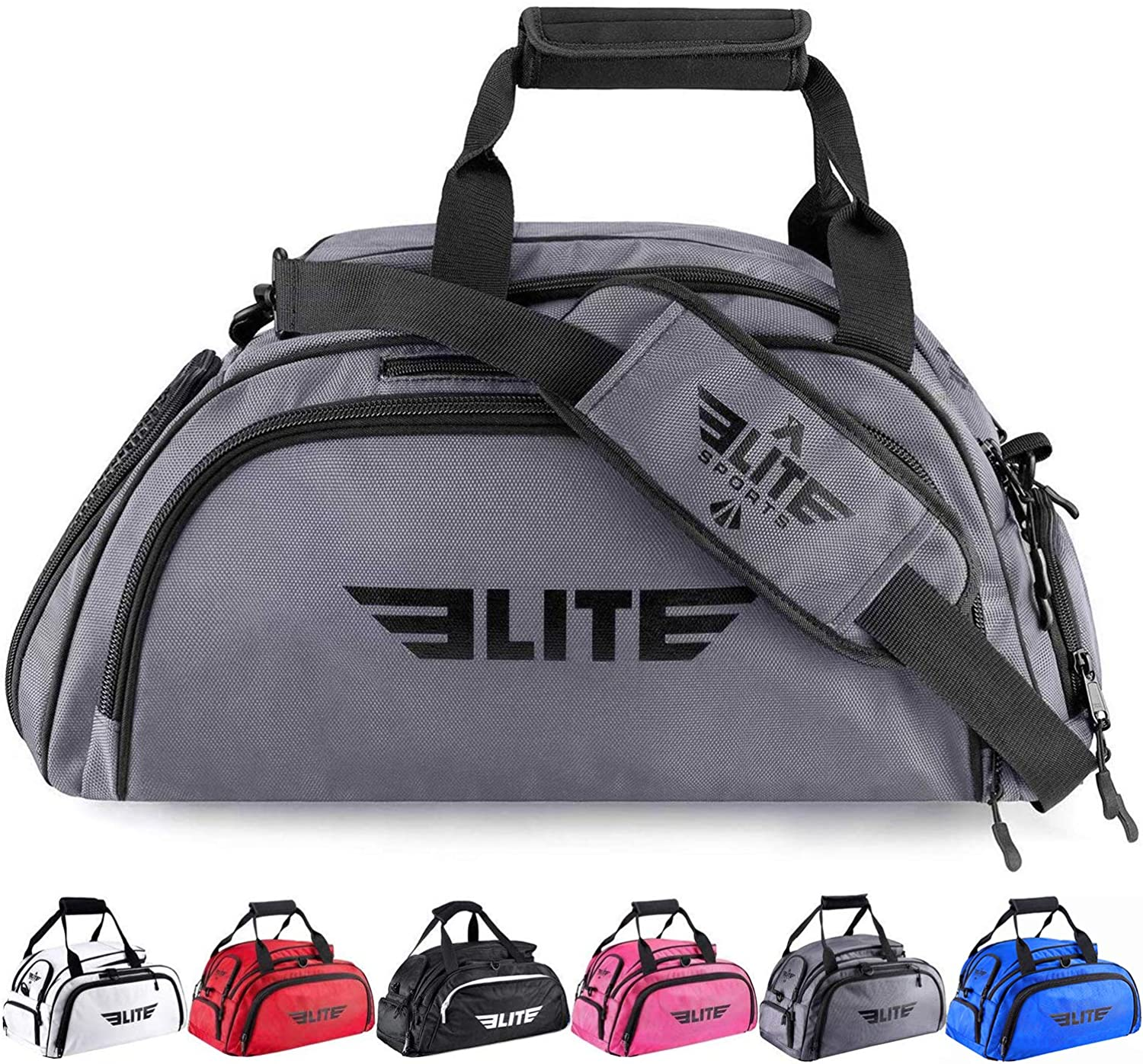 Elite Sports Boxing Gym Duffle Bag for MMA, BJJ, Jiu Jitsu Gear, Duffel Athletic Gym Backpack with Shoes Compartment