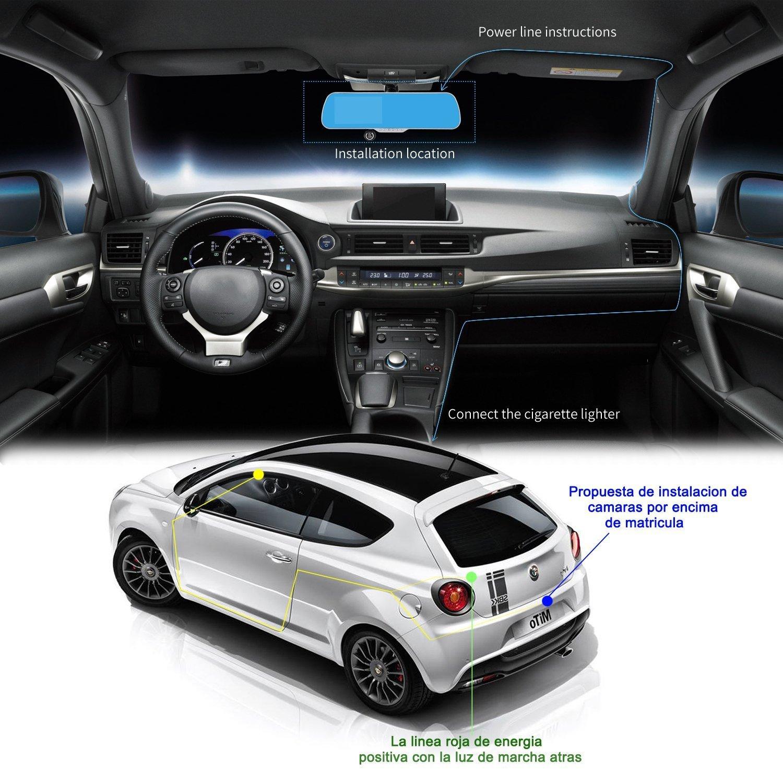 Retrovisor con doble cámara, cámara de salpicadero y cámara de marcha atrás con GPS para navegación europea - Pantalla táctil con visión nocturna: ...