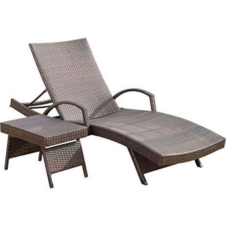 Peyton Adjustable Patio Chaise Lounge And Table Set Made W/ Wicker/Rattan  In Brown