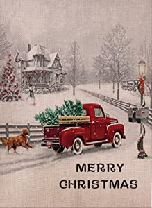 Selmad Home Decorative Merry Christmas Garden Flag Red Truck Double Sided, Rustic Quote House Yard Flag Xmas Pickup, Winter Holiday Dog Yard Decorations, Golden Retriever Seasonal Outdoor Flag 12 x 18