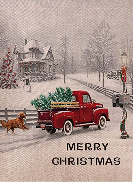 Christmas Red Truck.Selmad Home Decorative Merry Christmas Garden Flag Red Truck Double Sided Rustic Quote House Yard Flag Xmas Pickup Winter Holiday Dog Yard