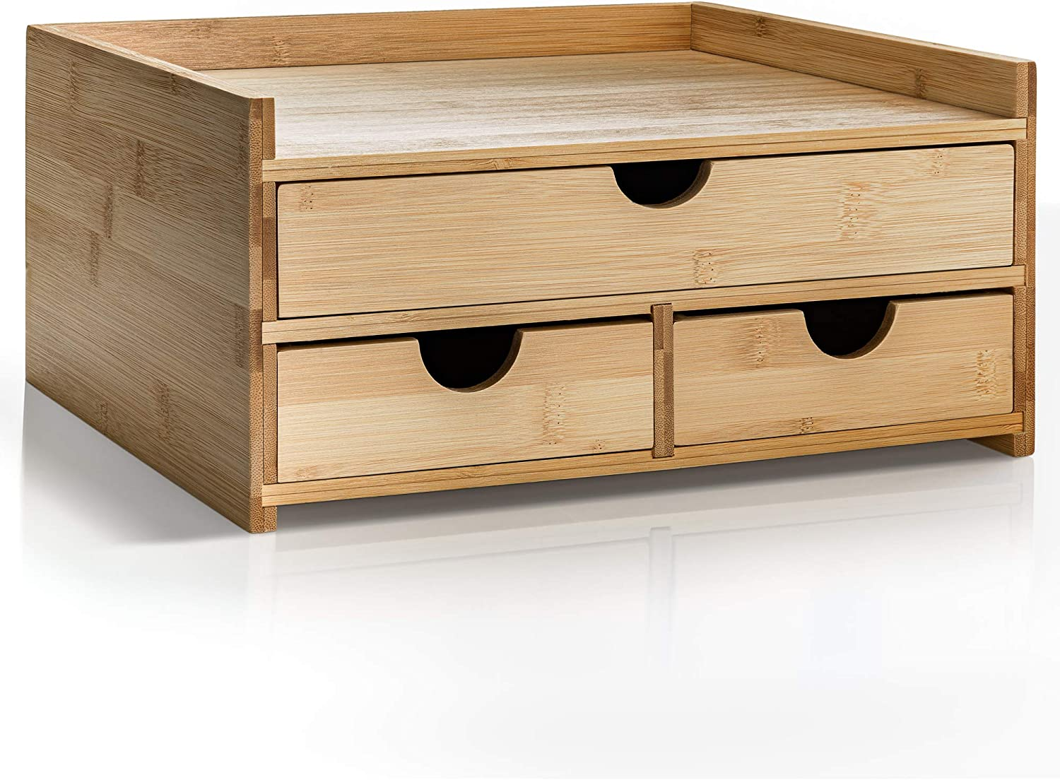 Prosumer's Choice Bamboo Desktop Organizer with 3 Drawers and US Letter Size Paper Tray for Home and Office