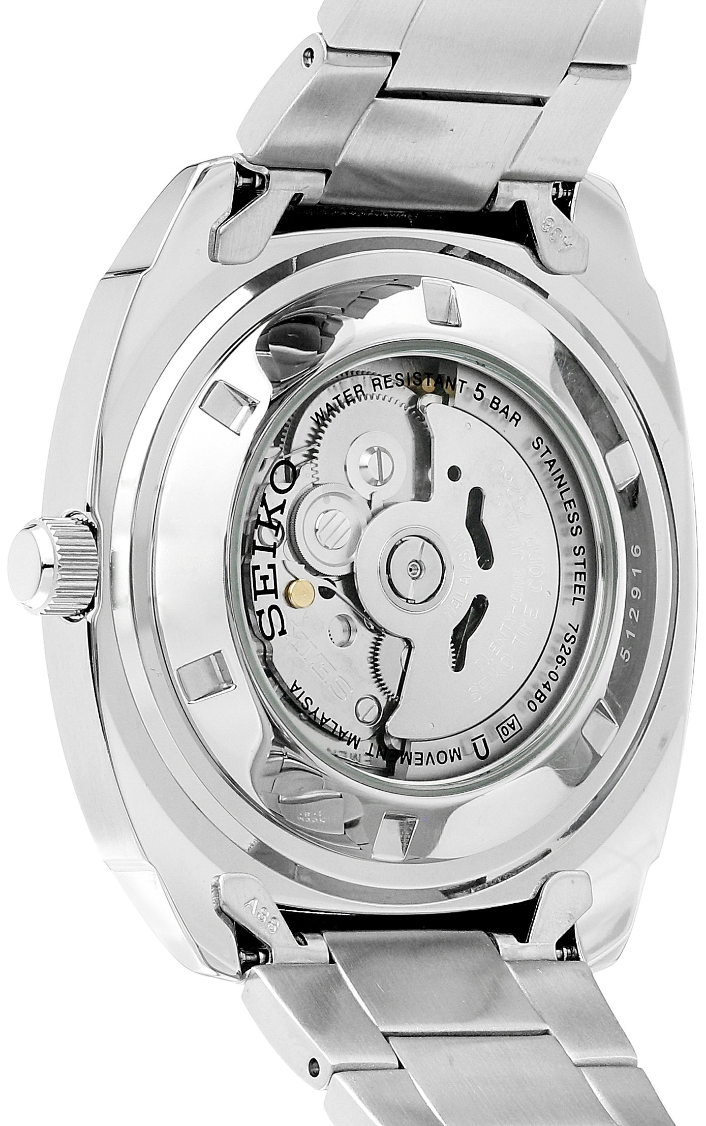 Seiko Men's SNKM97 Analog Green Dial Automatic Silver Stainless Steel Watch by SEIKO (Image #2)