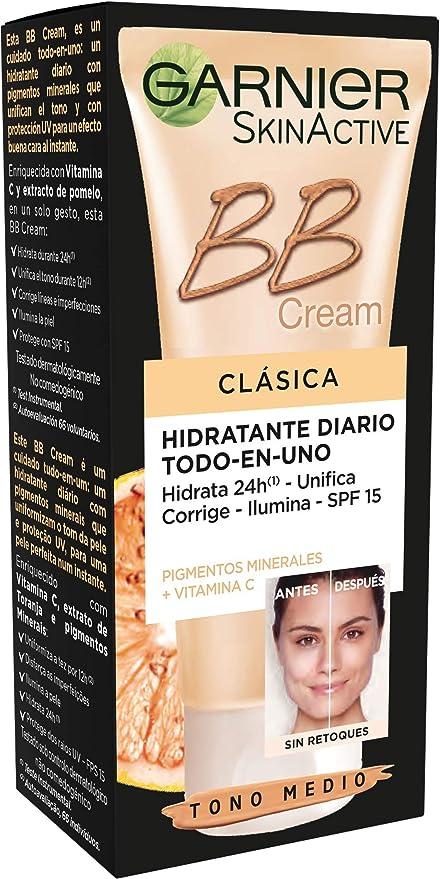 Oferta amazon: Garnier Skin Active BB Cream - Crema Hidratante con Color y Vitamina C y Protección Solar SPF 15 Hidrata y Unifica el tono, Color: Tono Medio - 50 ml