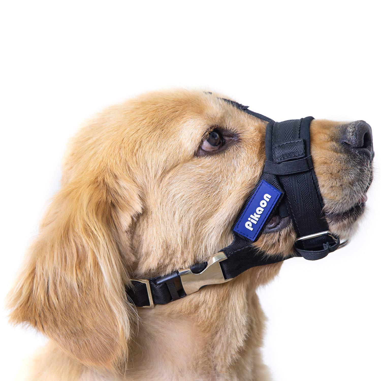 Pikaon Dog Muzzle, Soft Nylon Muzzle for Medium Large Dogs, Adjustable Strap