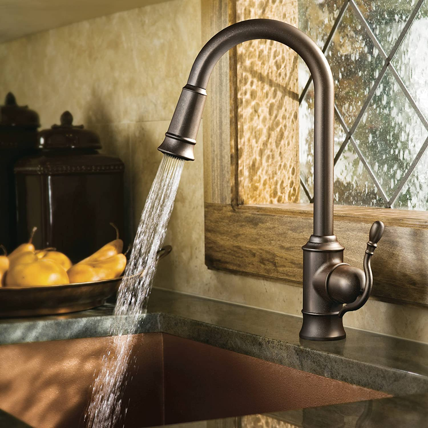 Moen 7615ORB Woodmere One-Handle High Arc Pulldown Kitchen Faucet ...
