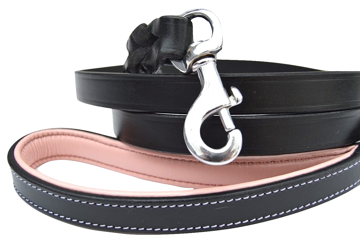 Black Light Pink Handle 6 Feet x 3 4 inch Black Light Pink Handle 6 Feet x 3 4 inch Soft Touch Collars Leather Braided Dog Leash with Padded Handle, Black and Light Pink 6 feet x 3 4 Inch, Great for Large Female Dogs