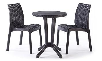 keter bistro 2 seater rattan outdoor garden furniture set graphite