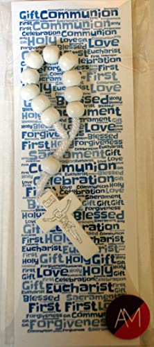 Boys First Communion Bookmark & White Single Decade Rosary Set - Gorgeous 1st Holy Communion Double Sided Bookmark and Mini Rosary Gift - Ideal Keepsake Gift