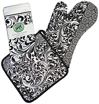 Michel Design Works Tea Towel, Oven Mitt, Pot Holder Set (Black Florentine)