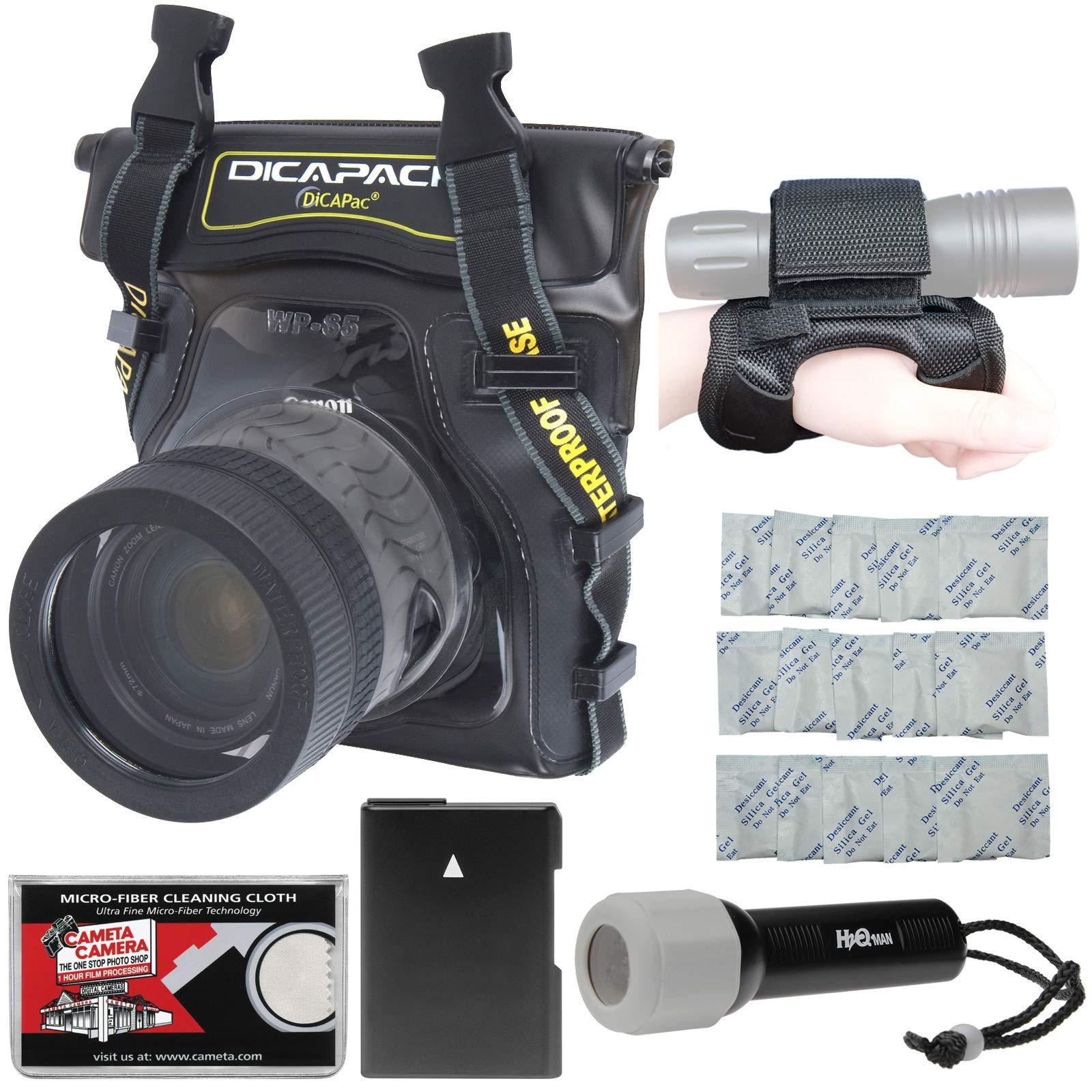 DiCAPac WP-S5 Waterproof Underwater Housing Case with EN-EL14 Battery + LED Torch & Handstrap Kit for Nikon D3300, D3400, D5300, D5500. D5600 Digital SLR Cameras