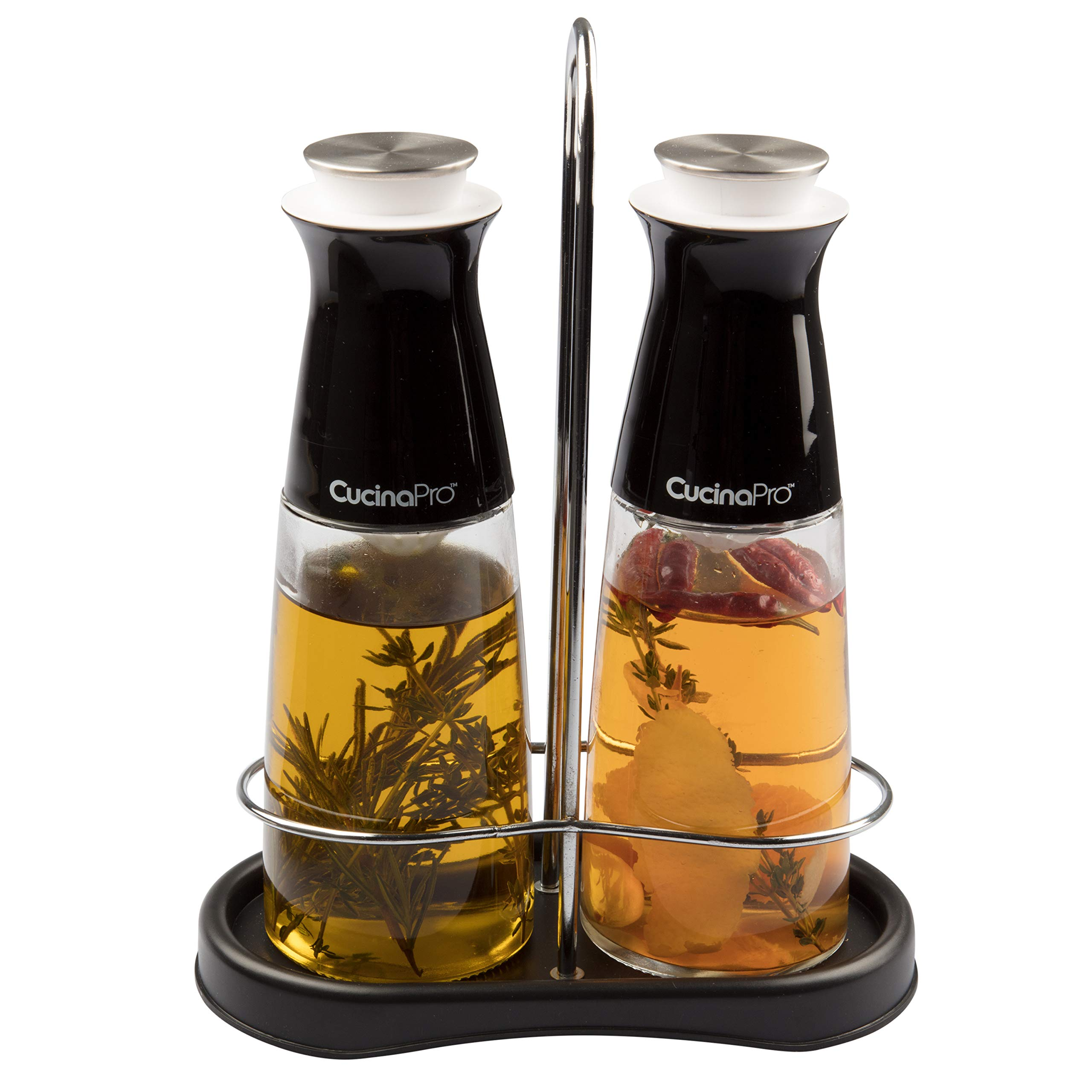 Olive Oil and Vinegar Infuser Bottle Dispenser Set of 2- Glass Dual Cruet Set (10 oz) w Built In Filter for Infusion and Clean Pouring- Storage Rack and Olive Oil/Vinegar Recipes Included by CucinaPro (Image #4)