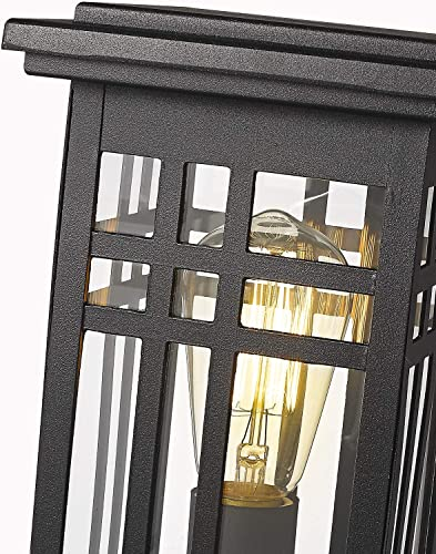 Zeyu Exterior Post Light, Outdoor Pole Lantern Pillar Light Fixture with Clear Glass Shade and Black Finish, 20068-P BK