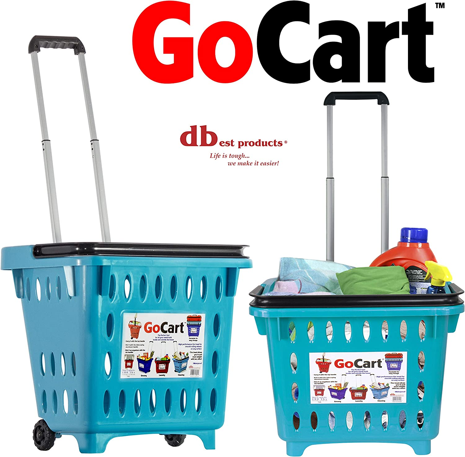 dbest products GoCart,Teal Grocery Cart Shopping Laundry Basket on Wheels