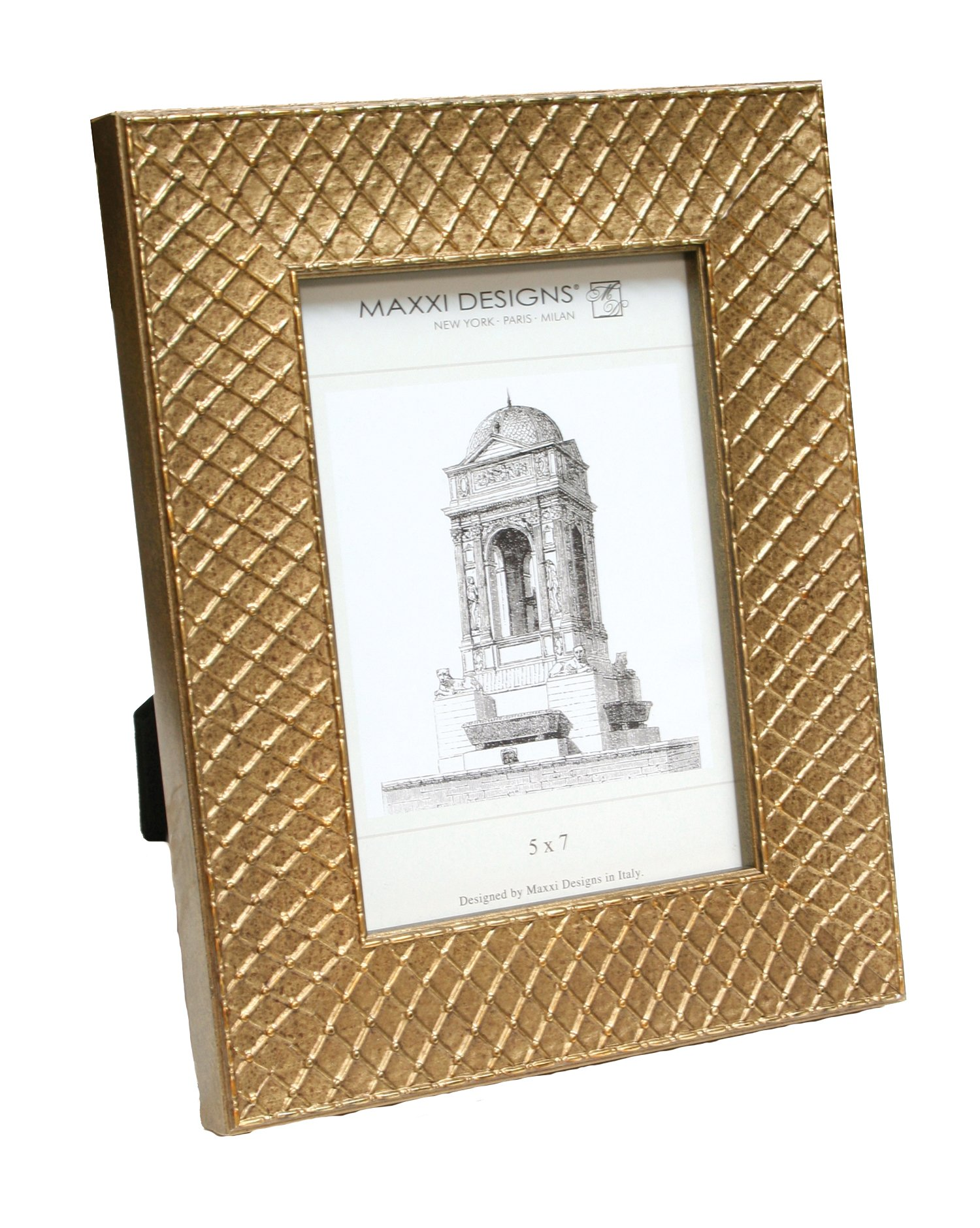 Maxxi Designs 5'' X 7'' Ravenna Frame, Gold / Argyle Pattern