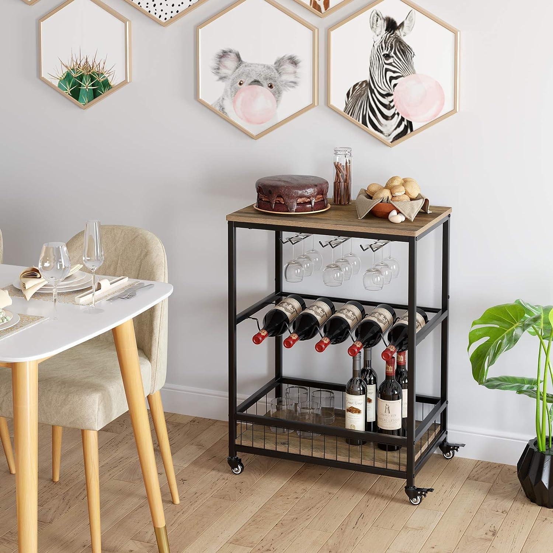 Carrito de Servicio con Ruedas con Cerradura for el hogar 60 x 40 x 82 cm zcaqtajro Brown Soul hill Bar Que Sirve Cart Mesa de la Cocina Vino de Almacenamiento con Wine Rack//Titular de Vidrio