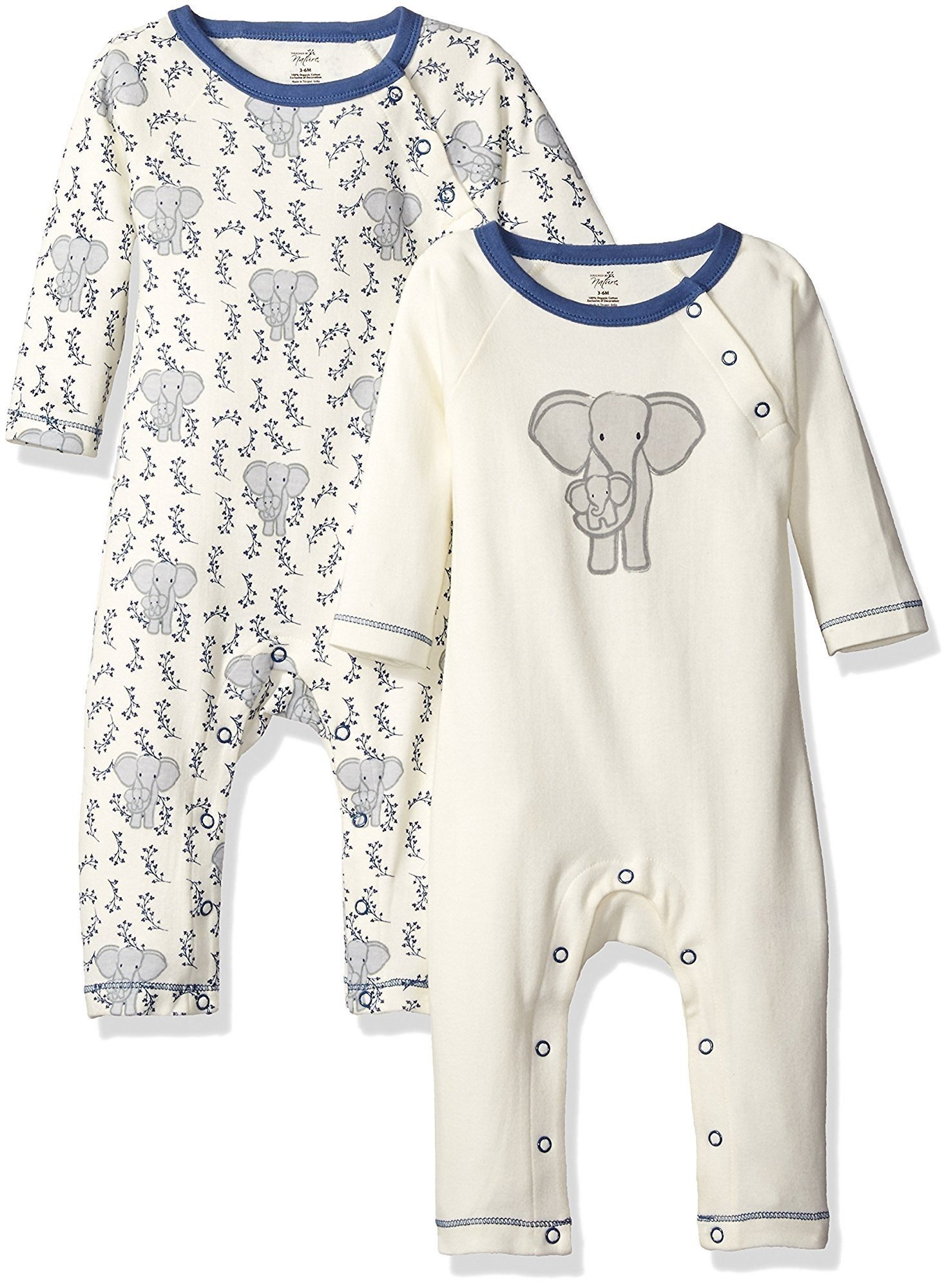 Touched by Nature Baby Organic Cotton Union Suit 2-Pack, Elephant, 0-3 Months