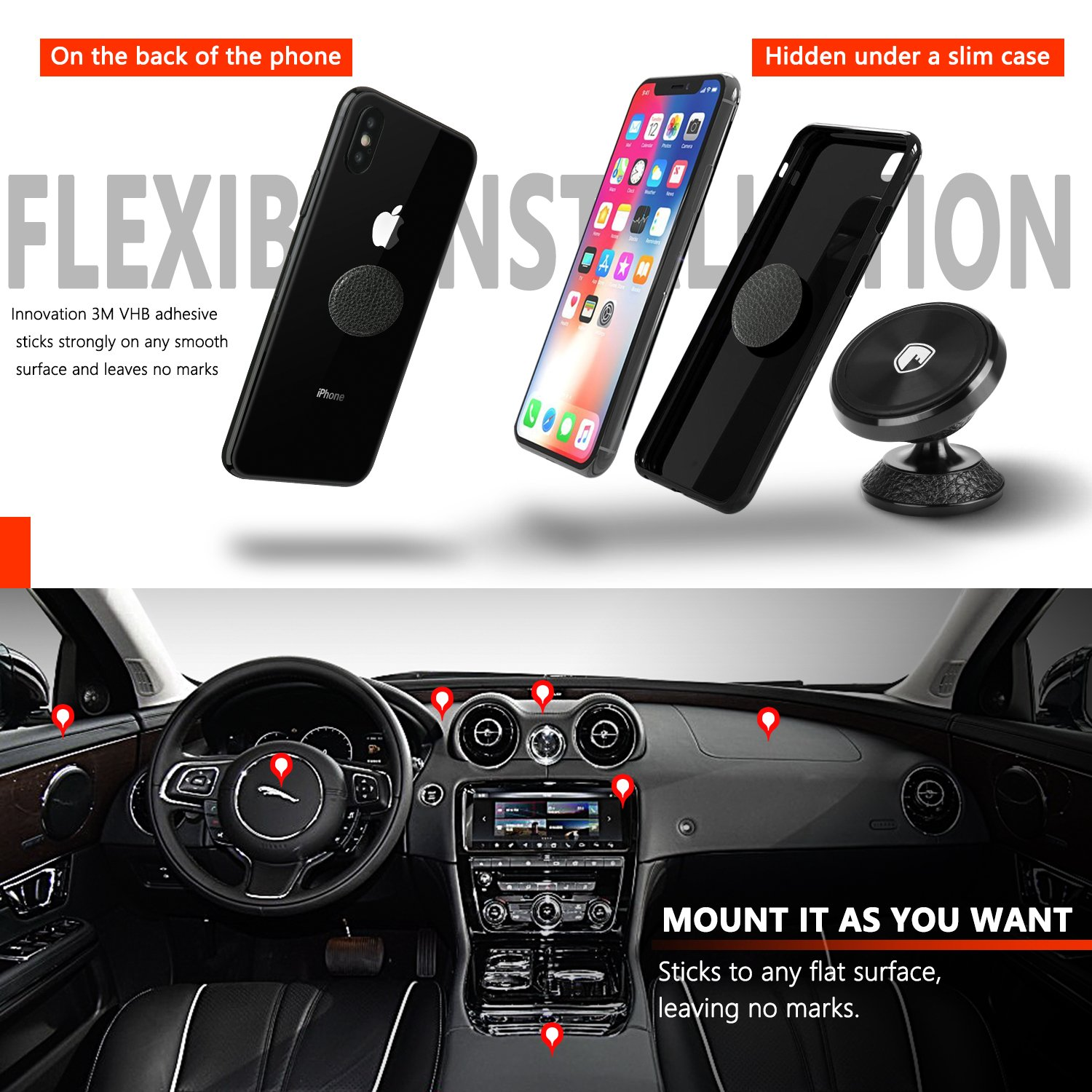 Magnetic Phone Holder Mount for Car - FITFORT Universal 360° Rotation Car Phone Mount Compatible iPhone X 8 7 6 Plus, Galaxy S9 S8 Note 8, GPS, Mini Tablet and More PG01