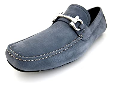 7d6330d2b3ee9 Salvatore Ferragamo Parigi Mens Blue Loafers Suede Shoes Made in Italy (8  D(M