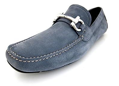 bbc0dad6137 Salvatore Ferragamo Parigi Mens Blue Loafers Suede Shoes Made in Italy (8  D(M