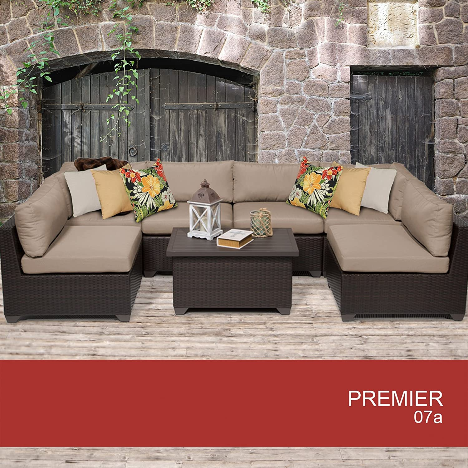Amazon Premier 7 Piece Outdoor Wicker Patio Furniture Set 07a
