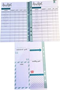 Budget Planner Inserts for 6 Ring Binder Planner, 26 Double Sided Sheets, Bills, Savings Home