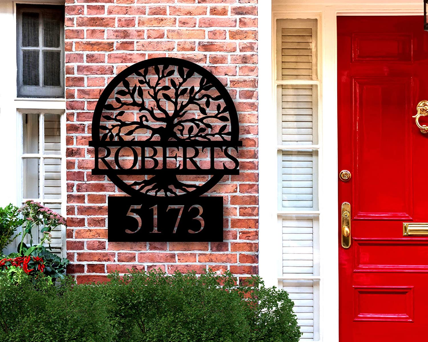 """Tamengi Personalized Name Address Sign for House, Metal Address Plaque for House, Metal Address Plaque, House Numbers Plaque, Address Numbers 24"""""""