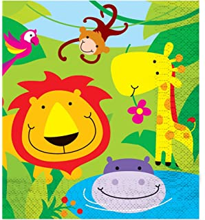 12 boys girls kids childrens birthday party invitations card with qualatex 09019 davies products jungle party napkin stopboris Image collections
