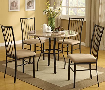 ACME Furniture Darell 5 Piece Pack Dining Set in Marble & Amazon.com - ACME Furniture Darell 5 Piece Pack Dining Set in Marble ...