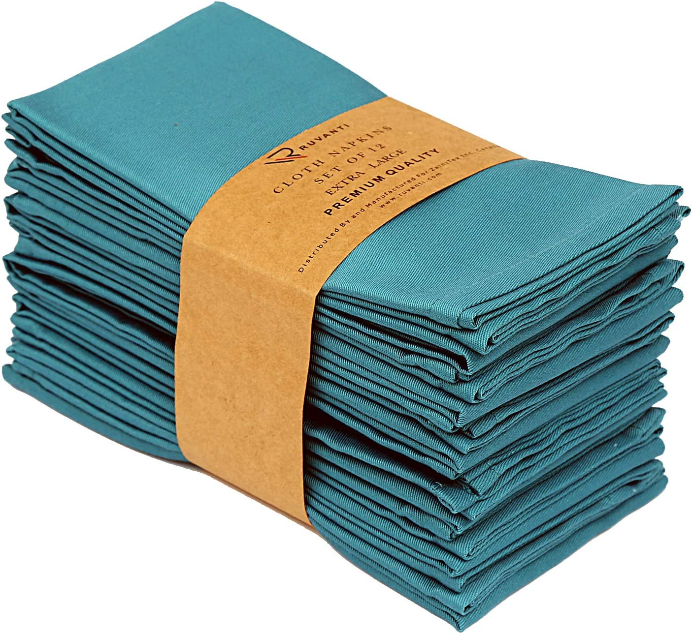 Ruvanti Kitchen Cloth Napkins 12 Pack 18X18 Inch Dinner Napkins Soft & Comfortable Reusable Turquoise Napkins -Durable Linen Napkins - Perfect Table Napkins / Teal Napkins for Family Dinners, Weddings