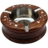 ITOS365 Handmade Wooden Ashtray Round for Home Office Car Gifts