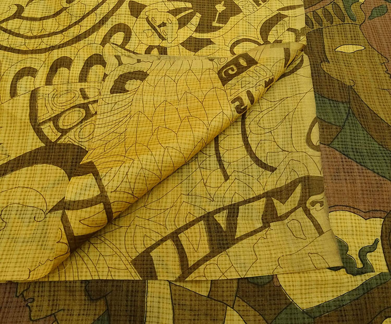 Vintage Reine Seide Menschliche Printed Saree Kleid Machen Hellgelb Craft Sari 5 Yd