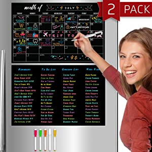 Hendson Magnetic Calendar for Refrigerator and Dry Erase Sheet 2 Pack - 11 x 17 Inches Fridge Calendar and Dry Erase Black Board Set - Monthly Fridge Calender Blackboard Kitchen Kit with 5 Markers