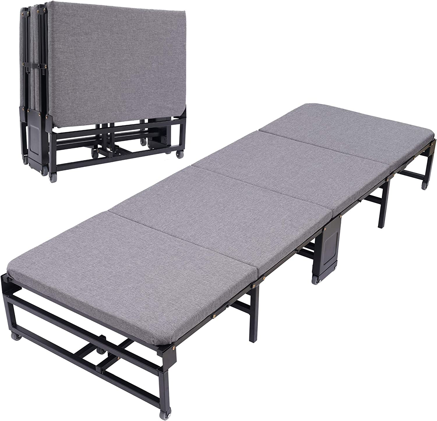 Portable Folding Bed with Wheels,Home Simple Lunch Bed Office Adult Marching Cot Siesta Lounge Chair Hospital Escort Bed